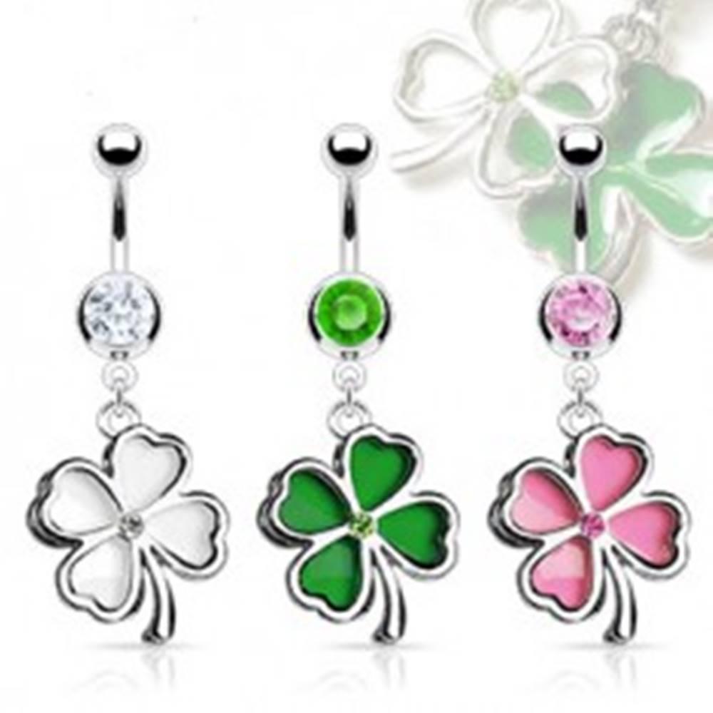 Šperky eshop Oceľový piercing do bruška s kamienkom, farebný štvorlístok - Farba piercing: Číra - Biela