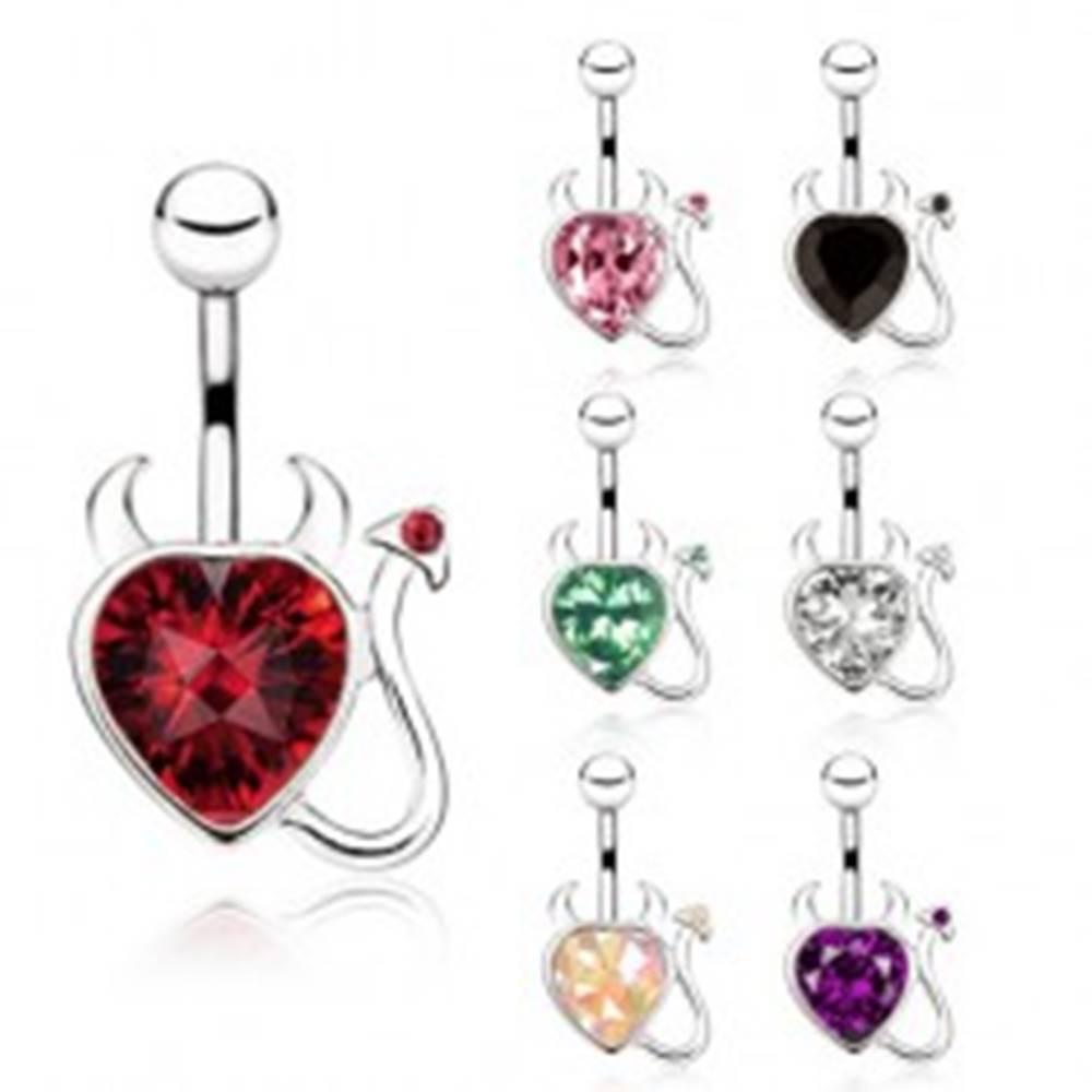 Šperky eshop Oceľový piercing do bruška, zirkónové srdce s chvostíkom a rohmi - Farba zirkónu: Červená - R