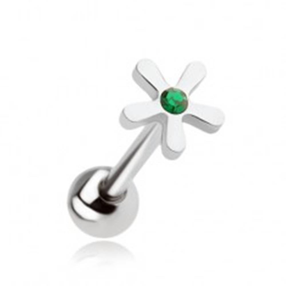 Šperky eshop Oceľový piercing do jazyka, kvet so zeleným zirkónom
