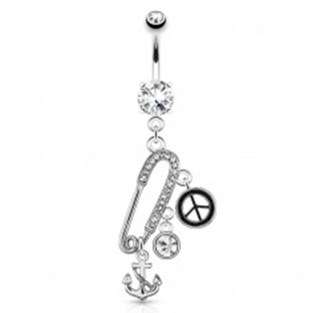 Šperky eshop Oceľový piercing do pupka - zatvárací špendlík, kotva, znak mieru, zirkóny
