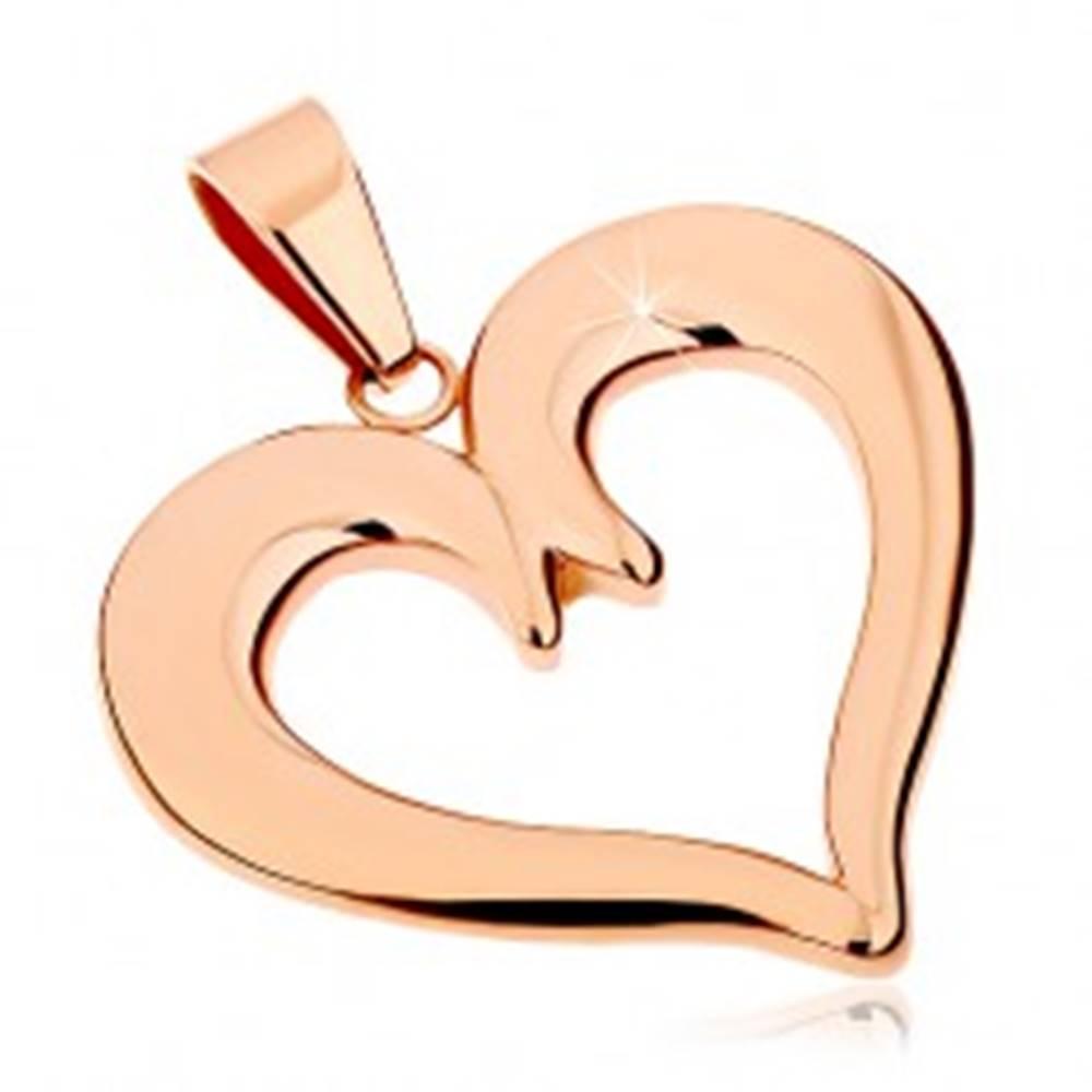 Šperky eshop Oceľový prívesok v medenom odtieni, kontúra súmerného srdca, lesklý povrch