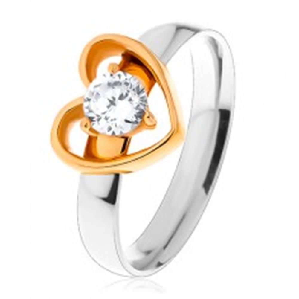 Šperky eshop Oceľový prsteň - dvojfarebné prevedenie, tenká kontúra srdca, okrúhly číry zirkón - Veľkosť: 49 mm