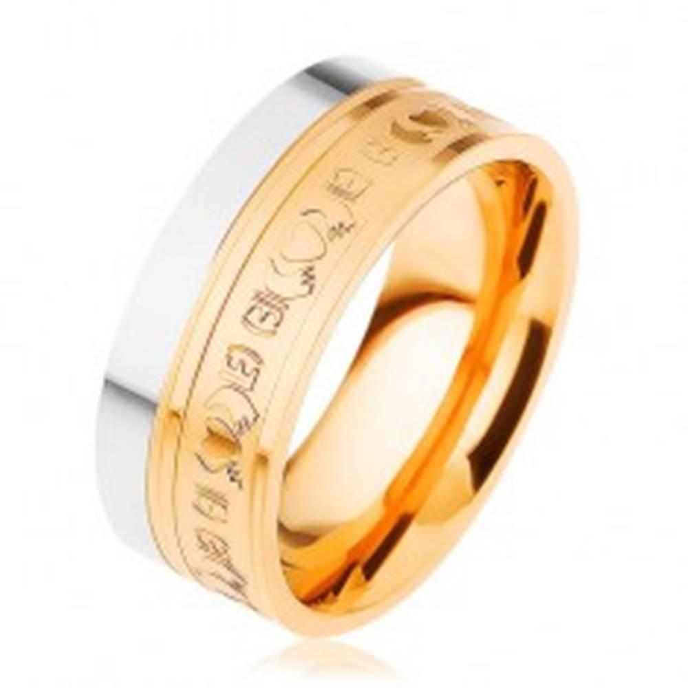 Šperky eshop Oceľový prsteň, dvojfarebný - strieborný a zlatý odtieň, ornamenty, 8 mm - Veľkosť: 54 mm