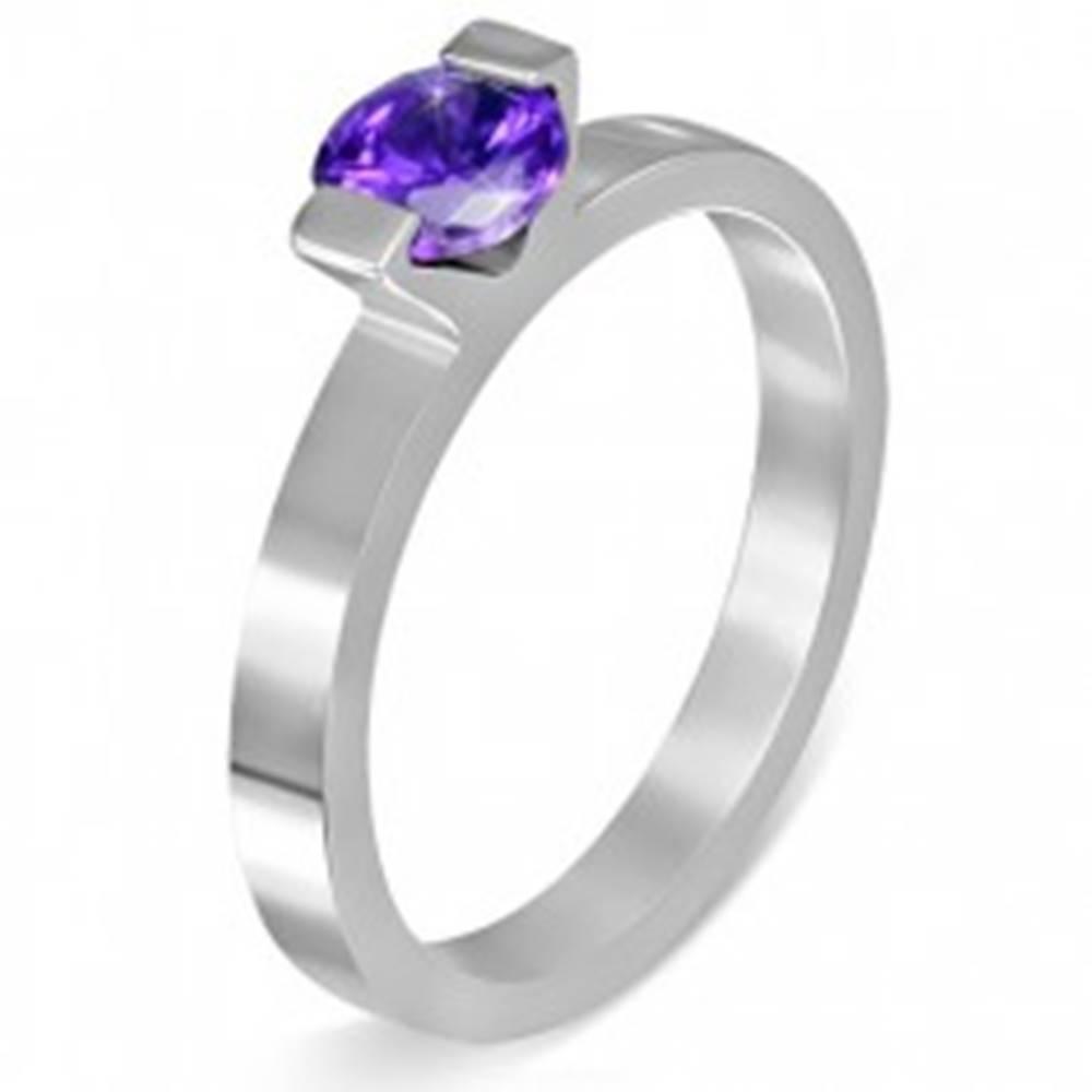 """Šperky eshop Oceľový prsteň - mesačný kameň """"Február"""", dva úchyty - Veľkosť: 52 mm"""