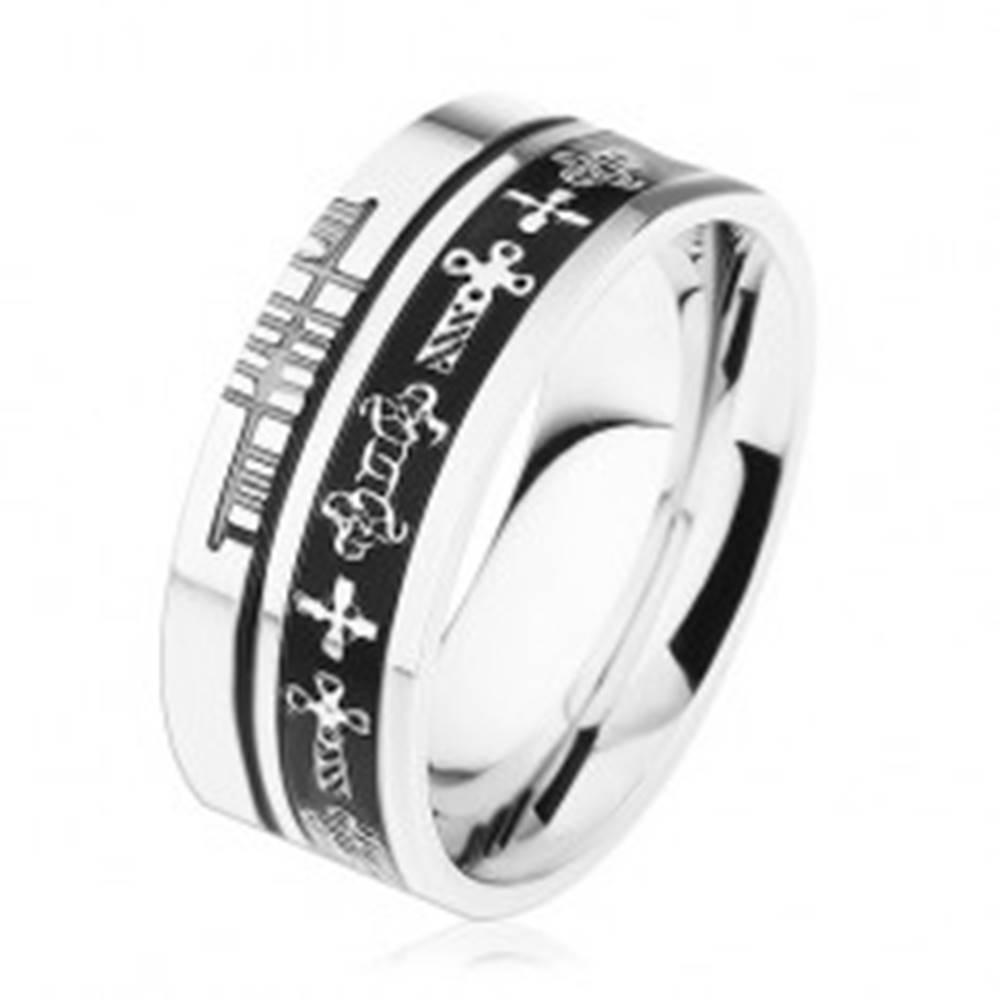 Šperky eshop Oceľový prsteň striebornej farby, čierne prúžky, keltské symboly - Veľkosť: 54 mm