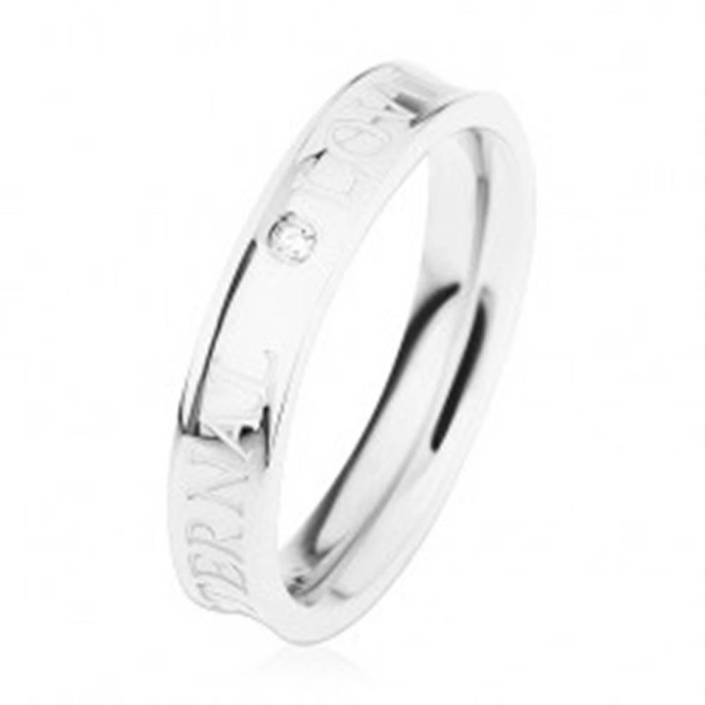 Šperky eshop Oceľový prsteň striebornej farby, vyhĺbený stred, číry zirkónik, ETERNAL LOVE - Veľkosť: 49 mm