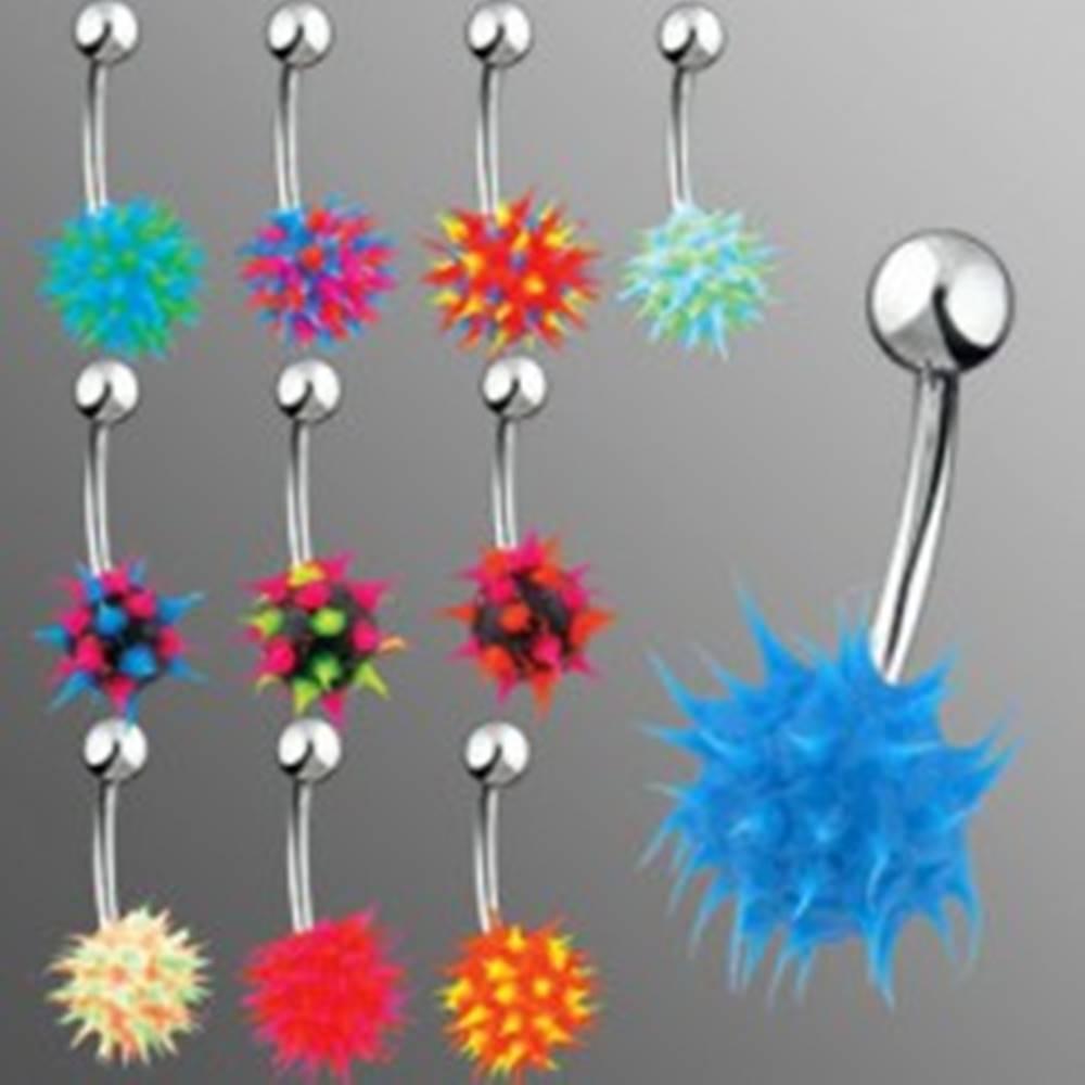 Šperky eshop Piercing do brucha so silikónovým farebným ježkom - Farba piercing: Čierna - Modrá - Ružová