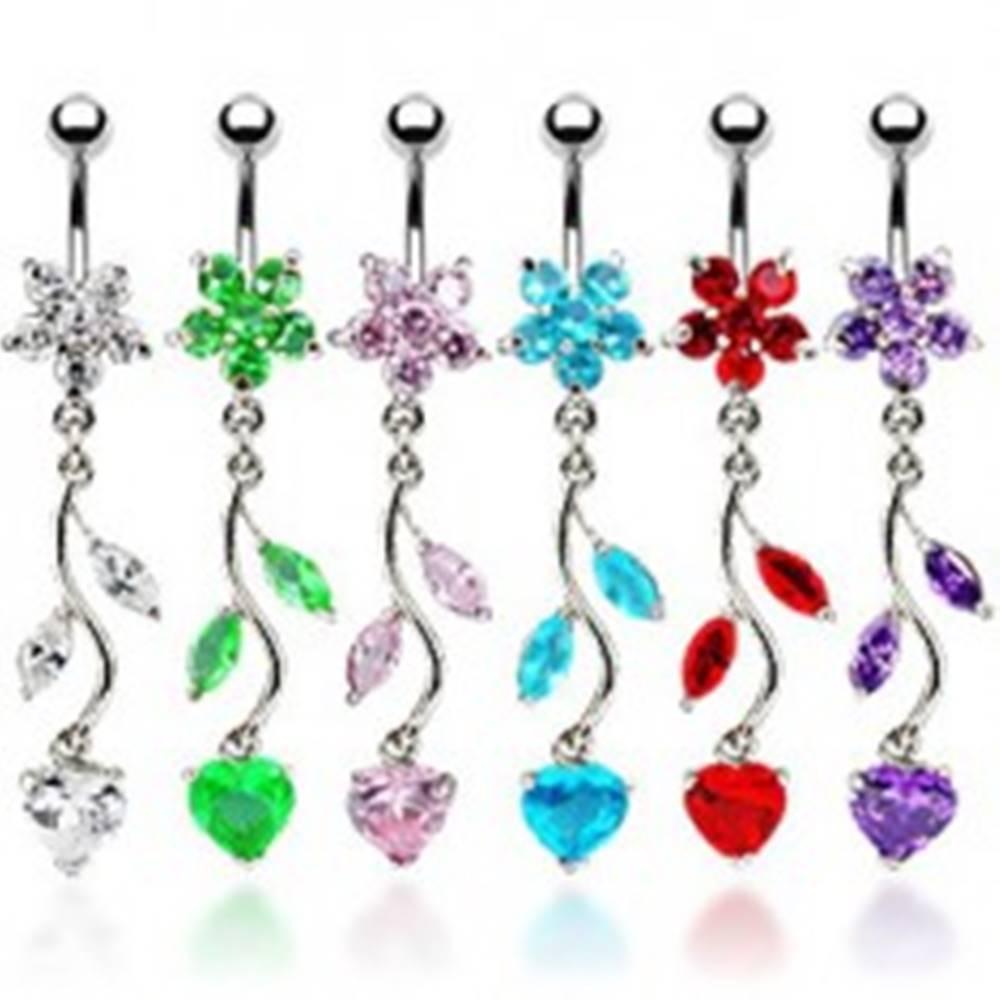 Šperky eshop Piercing do bruška - kvietok a srdce - Farba zirkónu: Aqua modrá - Q