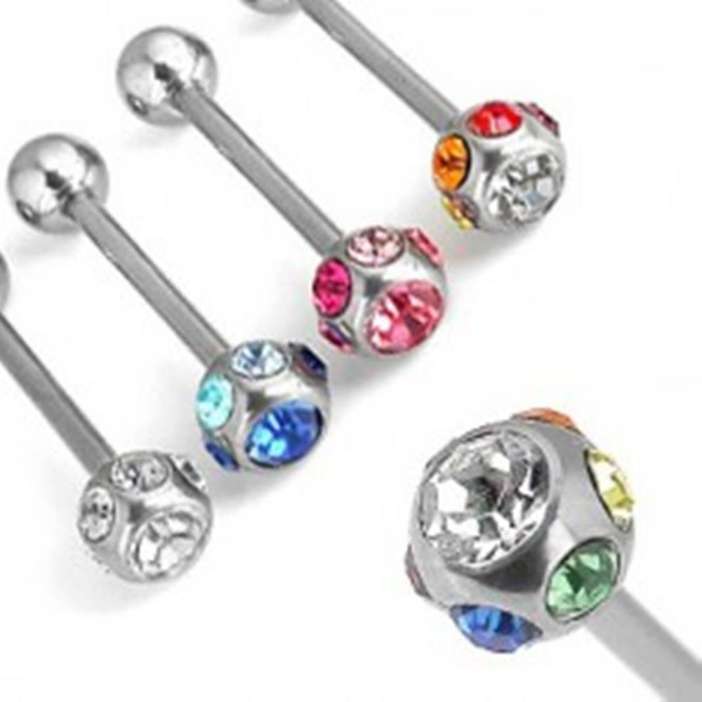Šperky eshop Piercing do jazyka so zirkónmi po obvode - Farba zirkónu: Číra - C