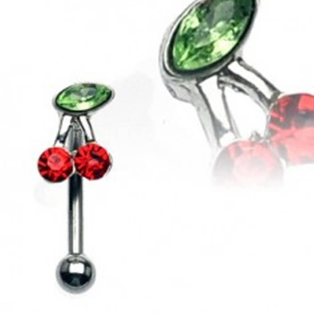 Šperky eshop Piercing do obočia - čerešňa so zelenými a červenými zirkónmi