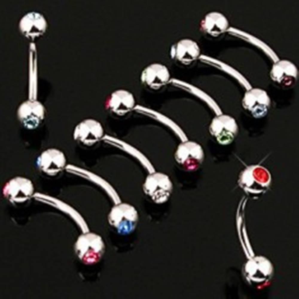 Šperky eshop Piercing do obočia jednoduchý s dvojicou zirkónov - Rozmer: 1,2 mm x 10 mm x 3 mm, Farba zirkónu: Číra - C