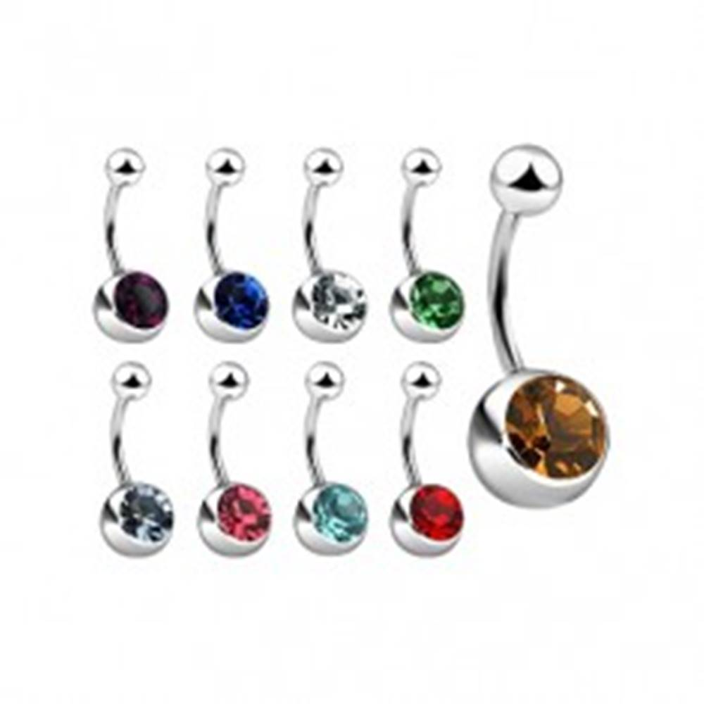 Šperky eshop Piercing do pupku z ocele so zirkónom, rôzne farby - Farba zirkónu: Aqua modrá - Q