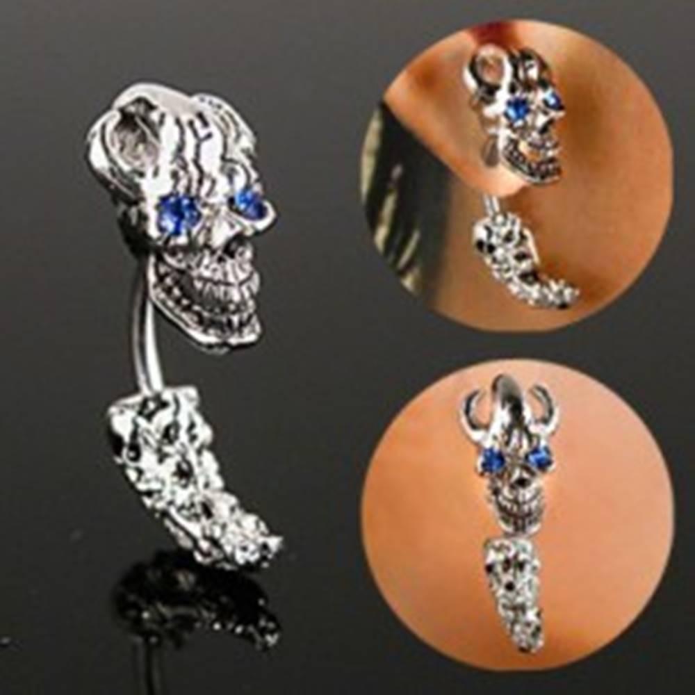 Šperky eshop Oceľový piercing do ucha - pirátska lebka so zirkónovými očami