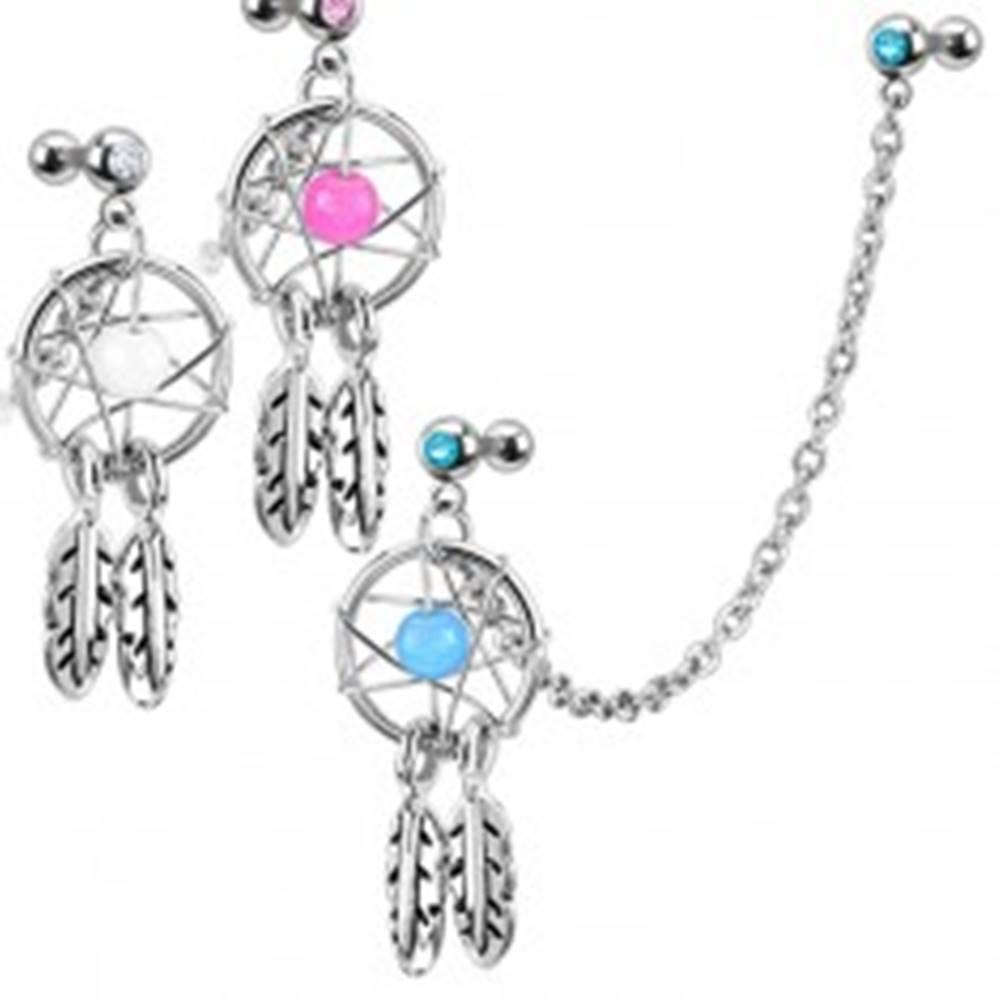 Šperky eshop Piercing do ucha z ocele 316L - lapač snov s korálkou, zirkónmi a retiazkou - Farba zirkónu: Aqua modrá - Q