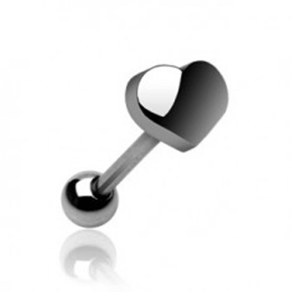 Šperky eshop Piercing jazyka s koncovým tvarom veľké srdiečko