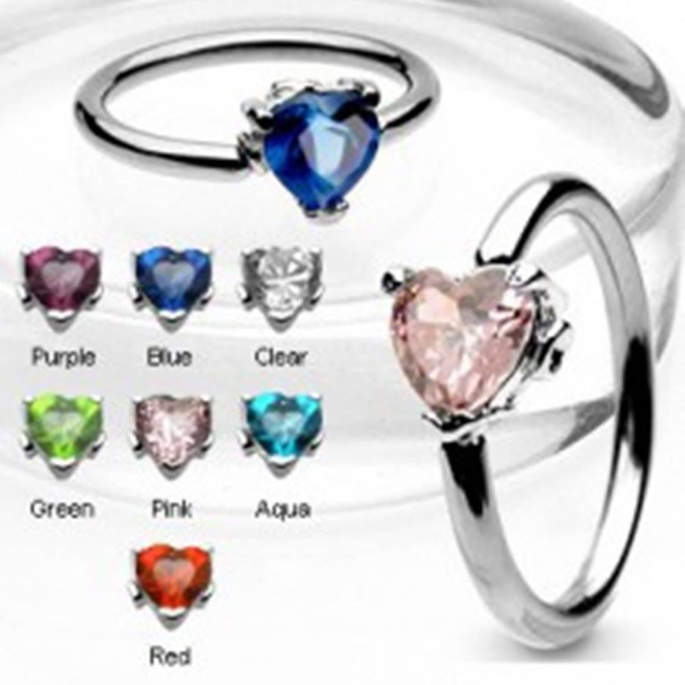 Šperky eshop Piercing krúžok so zirkónovým srdcom - Farba zirkónu: Aqua modrá - Q