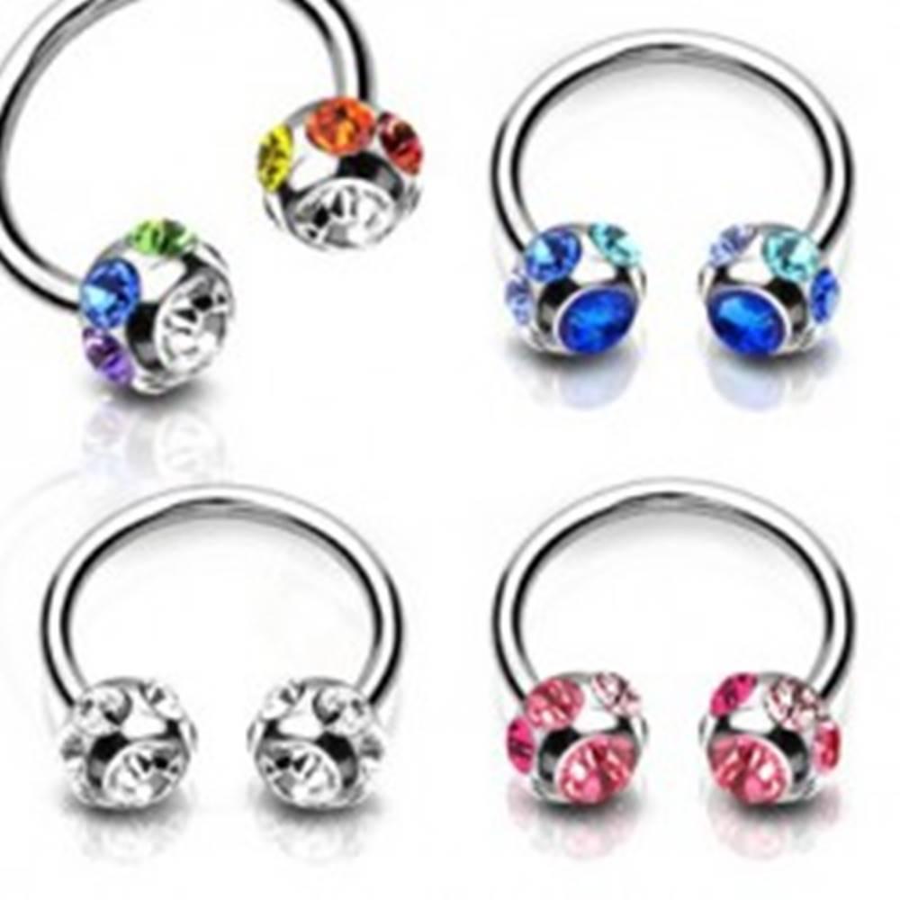 Šperky eshop Piercing z ocele - podkova s ligotavým zirkónom v guličke a drobnými zirkónikmi po obvode - Farba zirkónu: Číra - C