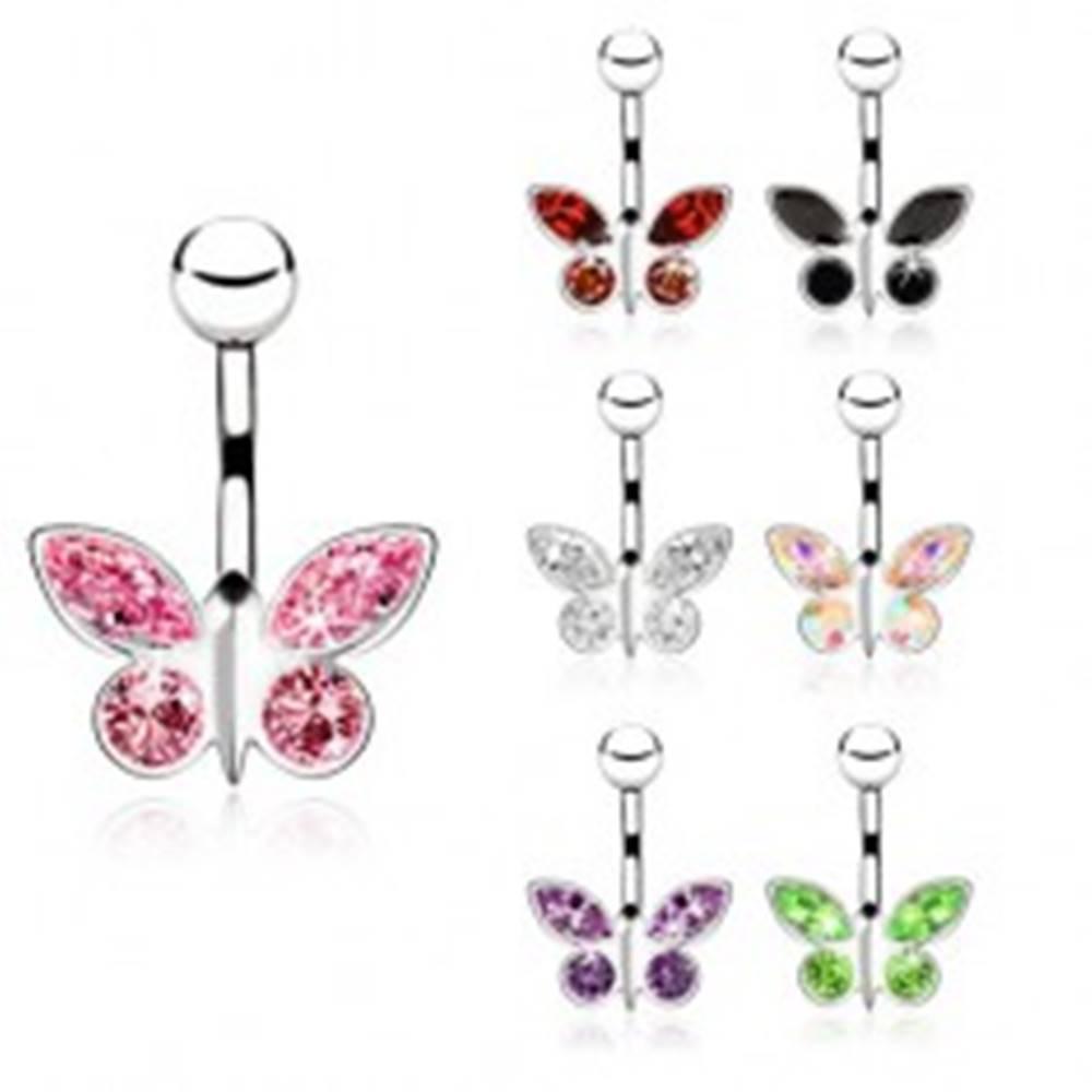 Šperky eshop Piercing z ocele do pupku, zirkónový motýľ - rôzne farby - Farba zirkónu: Červená - R