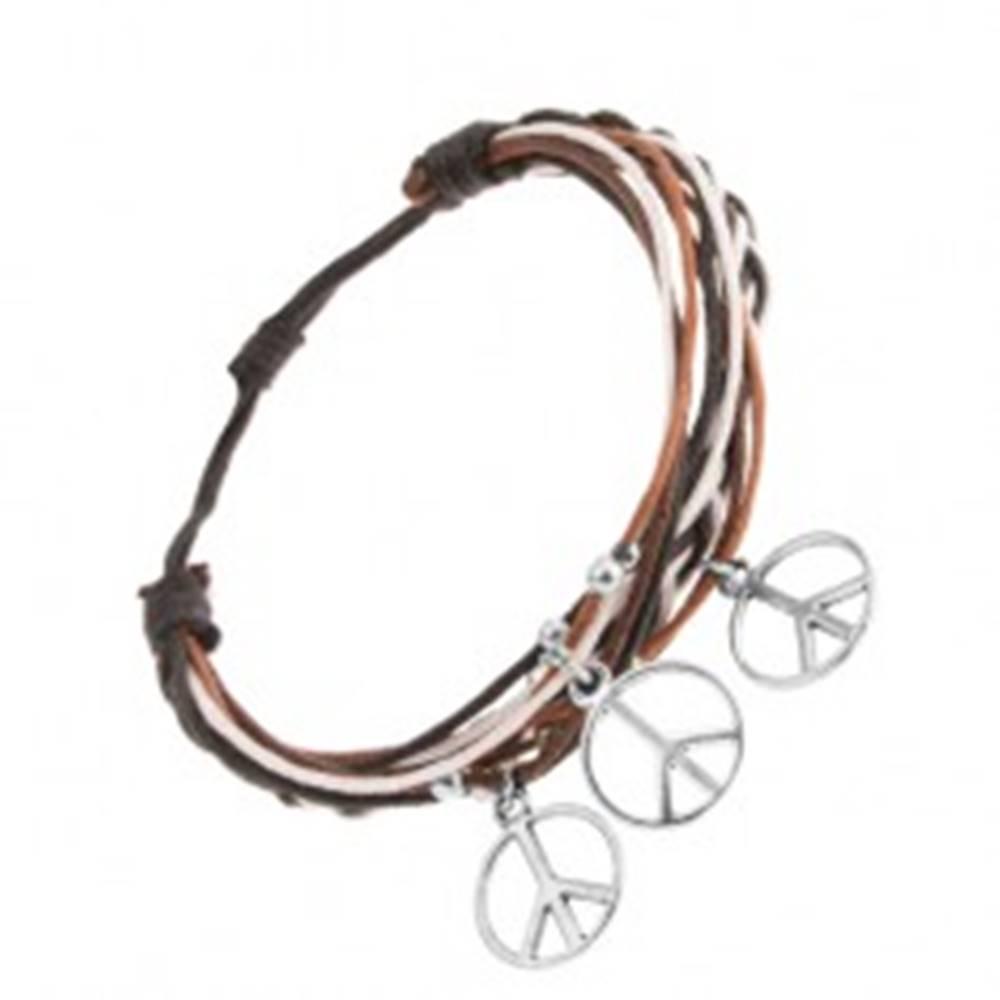 Šperky eshop Pletený náramok z hnedých, čiernych a bielych šnúrok, guličky a symboly mieru