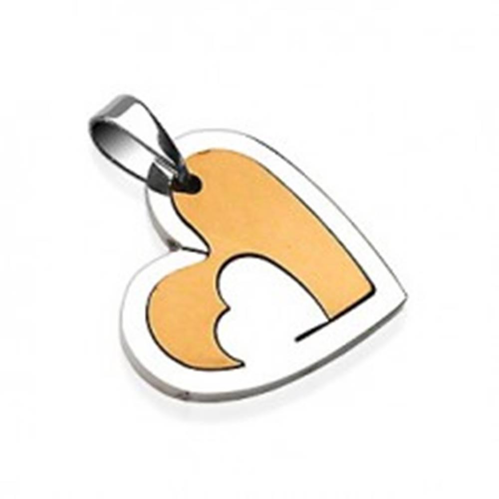Šperky eshop Prívesok z chirurgickej ocele, srdce s výrezom, strieborná a zlatá farba