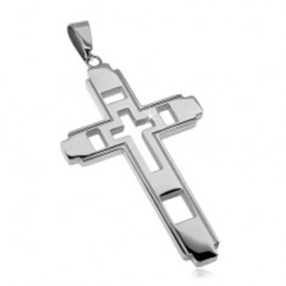 Šperky eshop Prívesok z chirurgickej ocele, veľký kríž s vyrezávaným krížikom