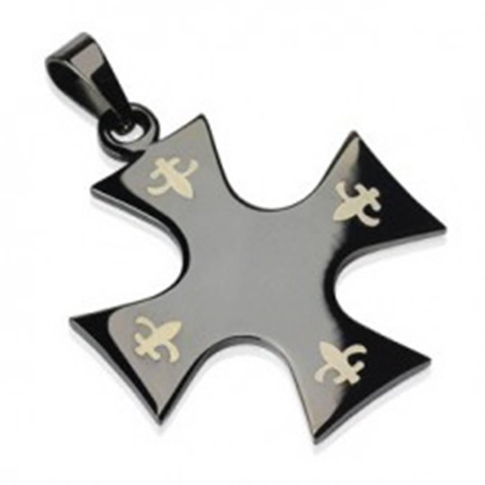 Šperky eshop Prívesok z chirurgickej ocele - kríž čiernej farby, Fleur de Lis