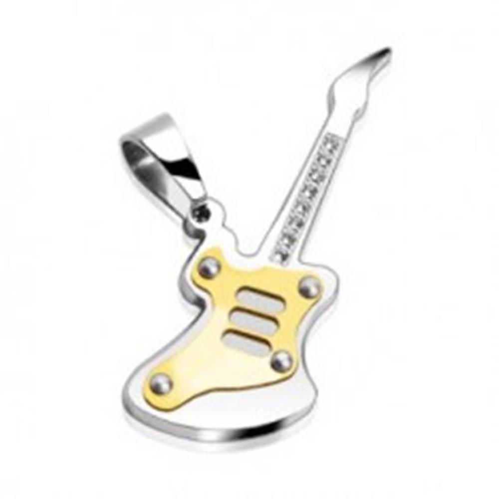 Šperky eshop Prívesok z ocele 316L - dvojfarebná gitara s čírymi okrúhlymi zirkónmi