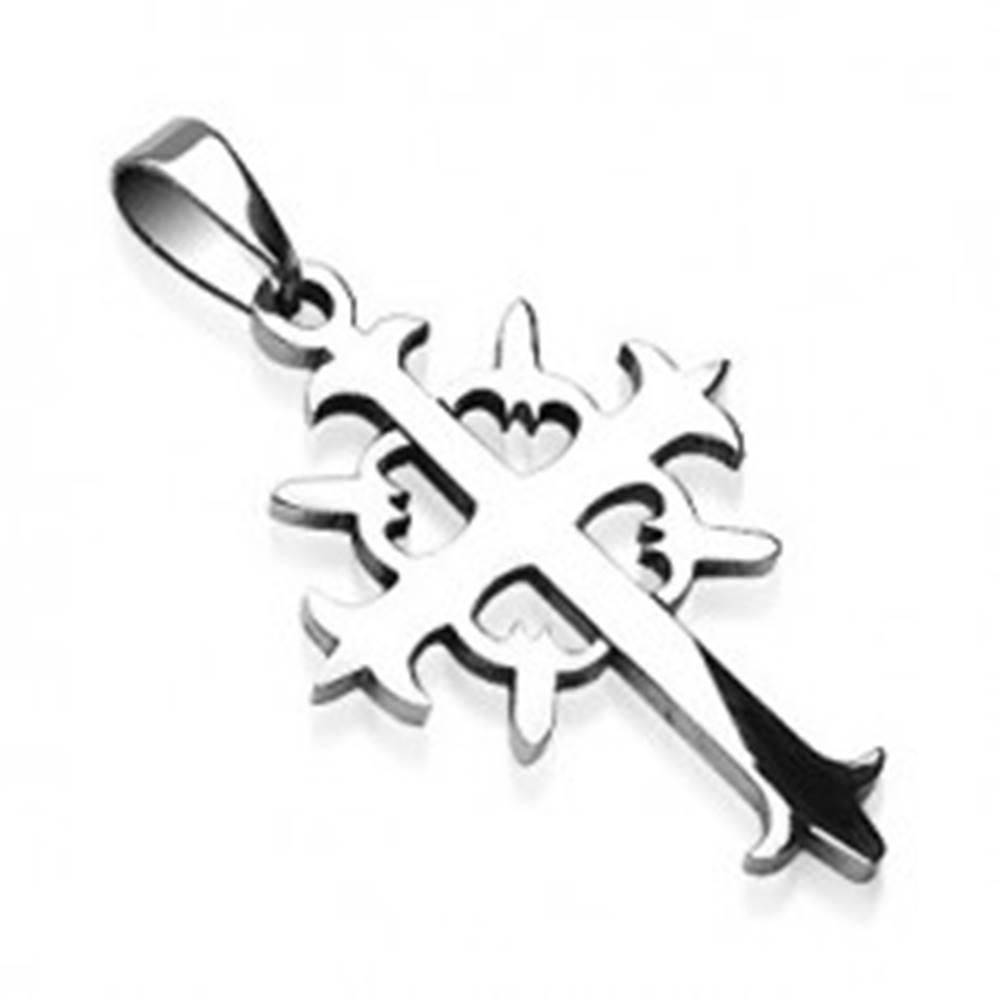 Šperky eshop Prívesok z ocele kríž s kruhom