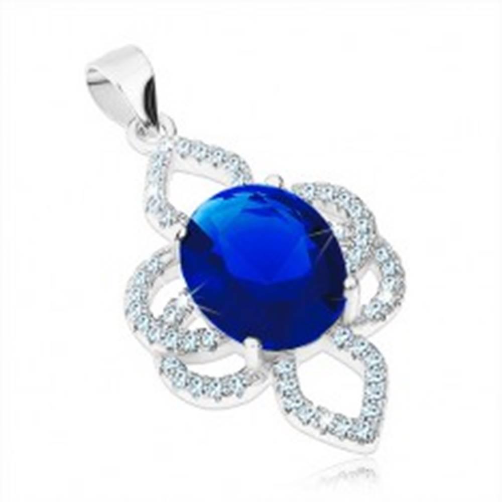 Šperky eshop Prívesok zo striebra 925, kvet - modrý zirkónový ovál, číre obrysy lupeňov