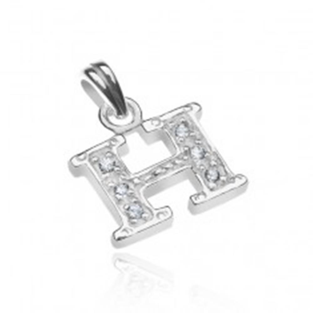 Šperky eshop Prívesok zo striebra 925 - písmeno H s bodkami a zirkónmi