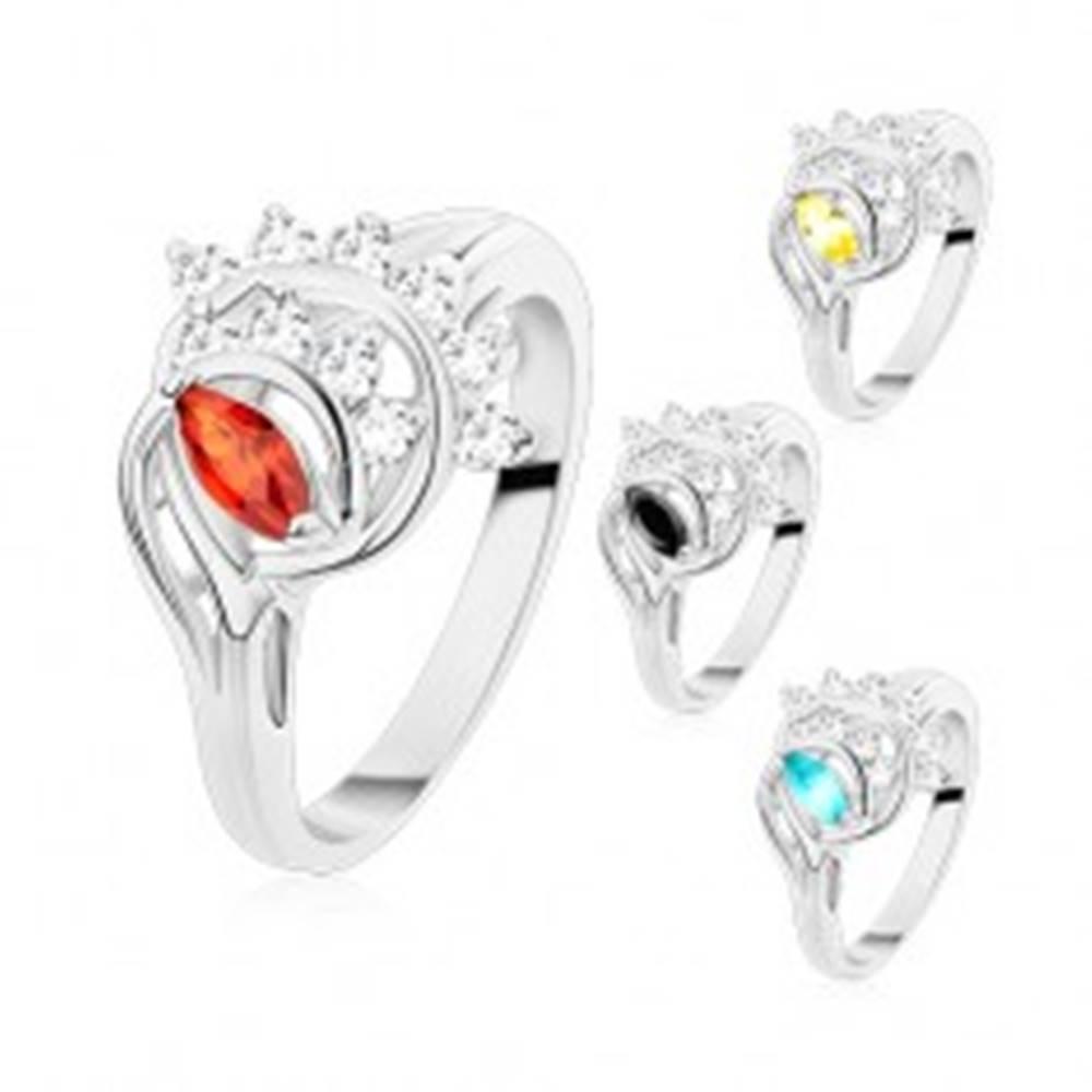 Šperky eshop Prsteň striebornej farby, farebné zrnko, oblúky z čírych zirkónov - Veľkosť: 54 mm, Farba: Oranžová