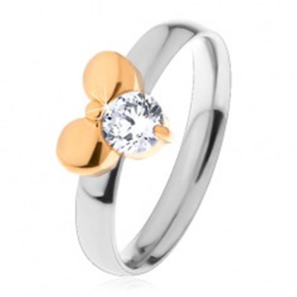 Šperky eshop Prsteň z chirurgickej ocele - dvojfarebný, mašľa a číry okrúhly zirkón - Veľkosť: 49 mm