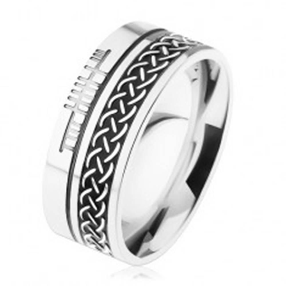 Šperky eshop Prsteň z chirurgickej ocele, keltský vzor, strieborná farba, 8 mm - Veľkosť: 54 mm