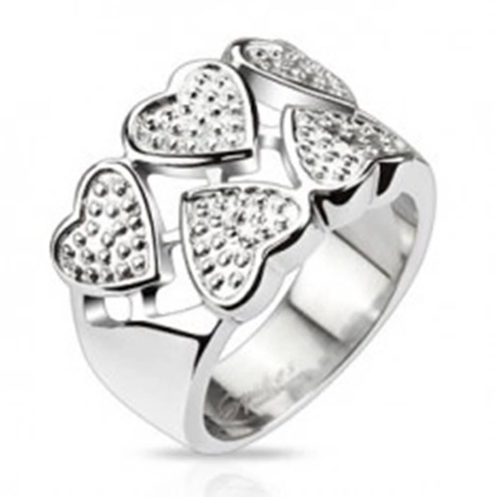 Šperky eshop Prsteň z chirurgickej ocele - striedavé srdcia striebornej farby s bodkami - Veľkosť: 49 mm