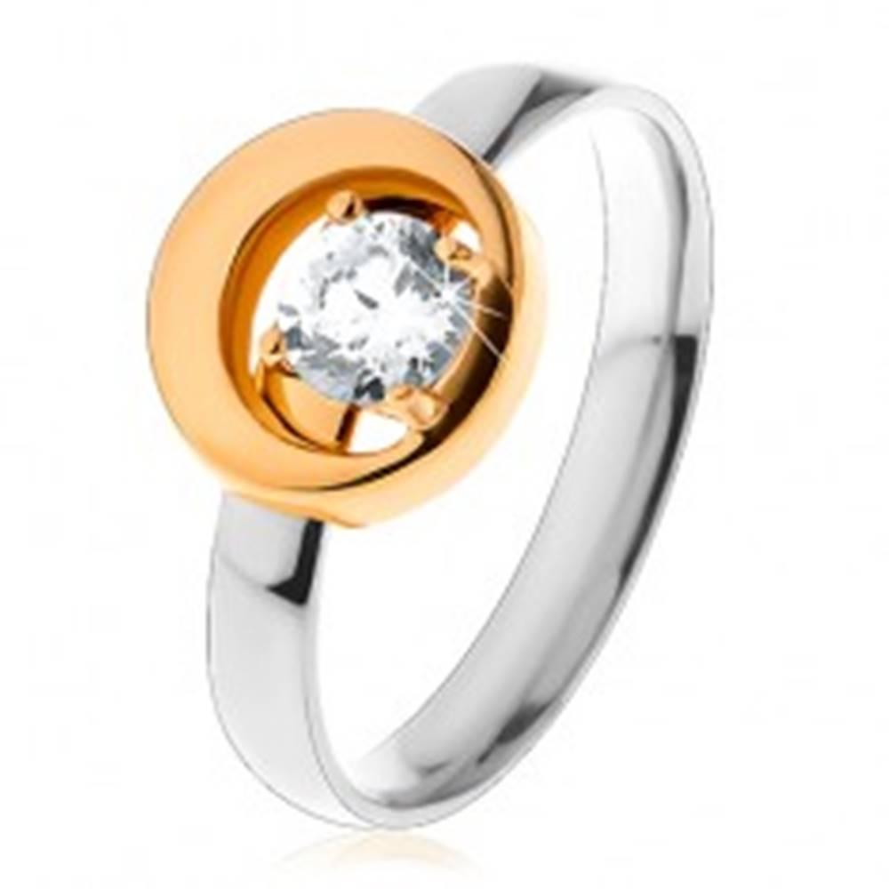 Šperky eshop Prsteň z ocele 316L, okrúhly číry zirkón v kruhu s výrezom, dvojfarebný - Veľkosť: 49 mm