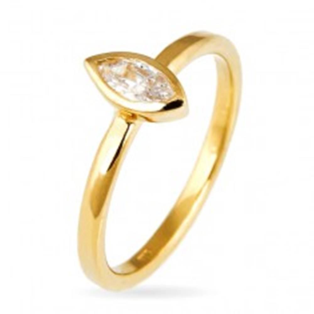 Šperky eshop Prsteň zo striebra 925 - vystúpený zirkón v zrnkovej obruči, zlatý odtieň - Veľkosť: 50 mm