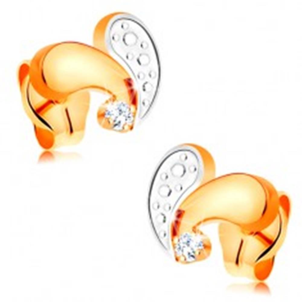 Šperky eshop Puzetové náušnice zo 14K zlata - žltá a biela zahnutá slzička, číry zirkón
