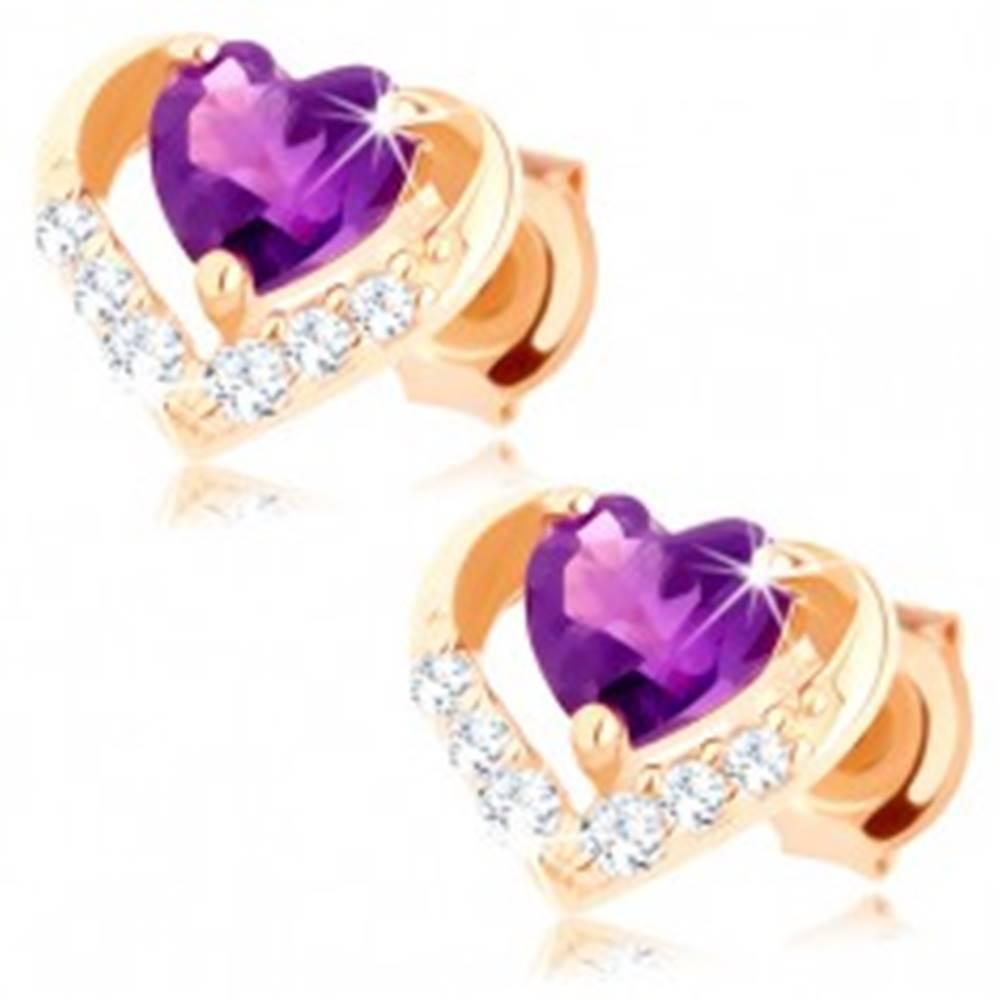 Šperky eshop Puzetové náušnice zo žltého 9K zlata - zirkónový obrys srdca, fialový ametyst