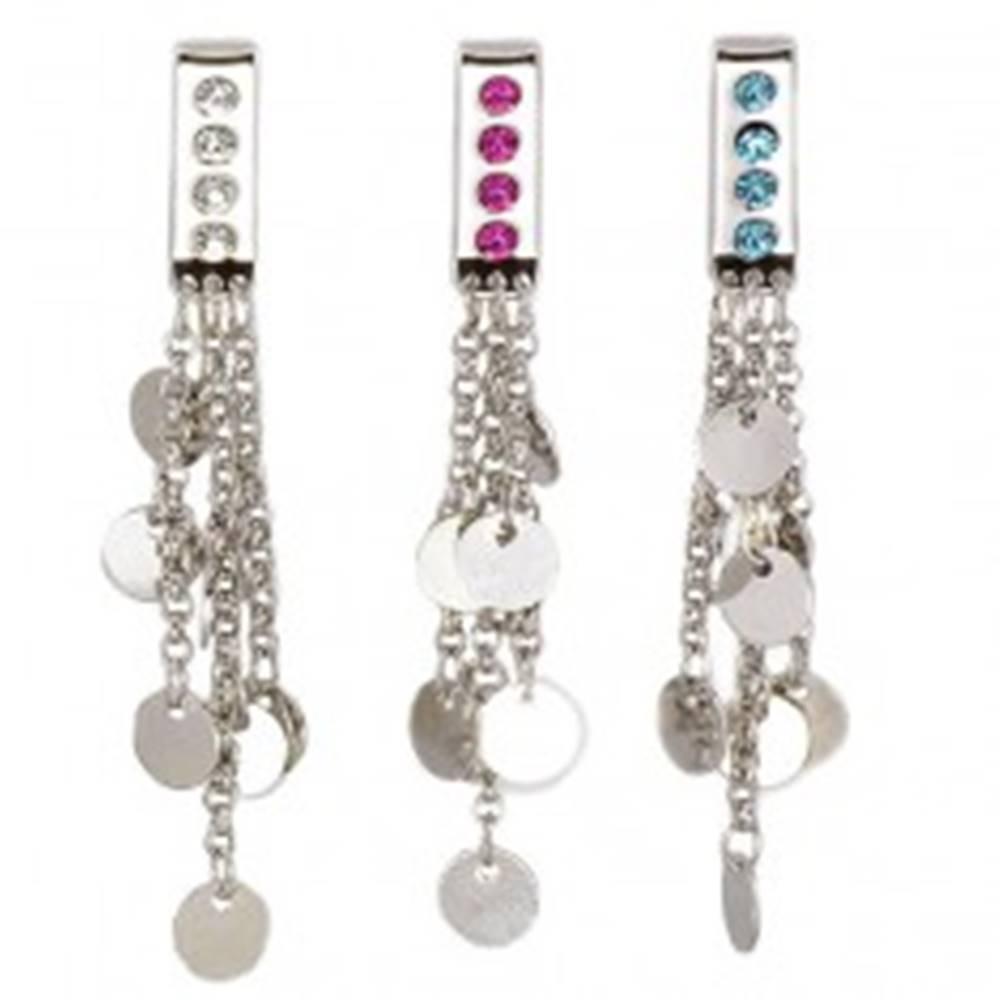 Šperky eshop Šperk na plavky - visiace krúžky na retiazkach - Farba zirkónu: Aqua modrá - Q