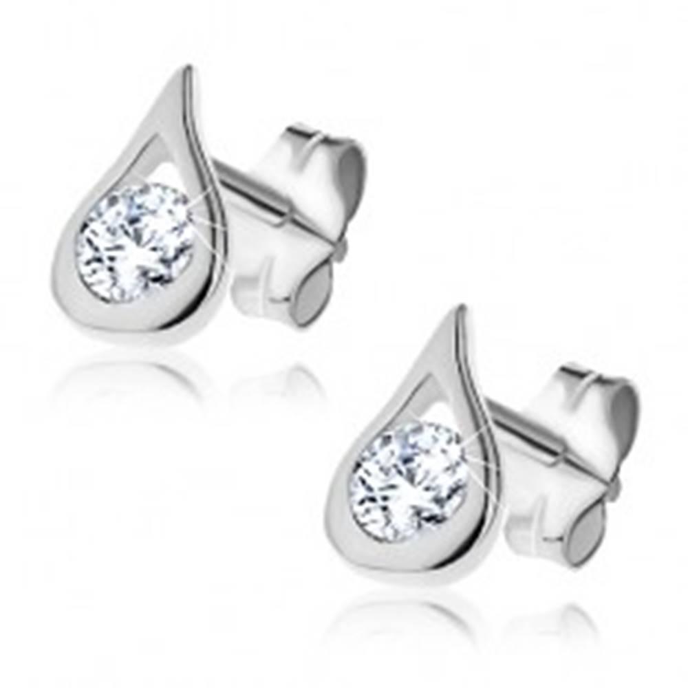 Šperky eshop Strieborné náušnice 925 - číry zirkón v lesklej slzičke