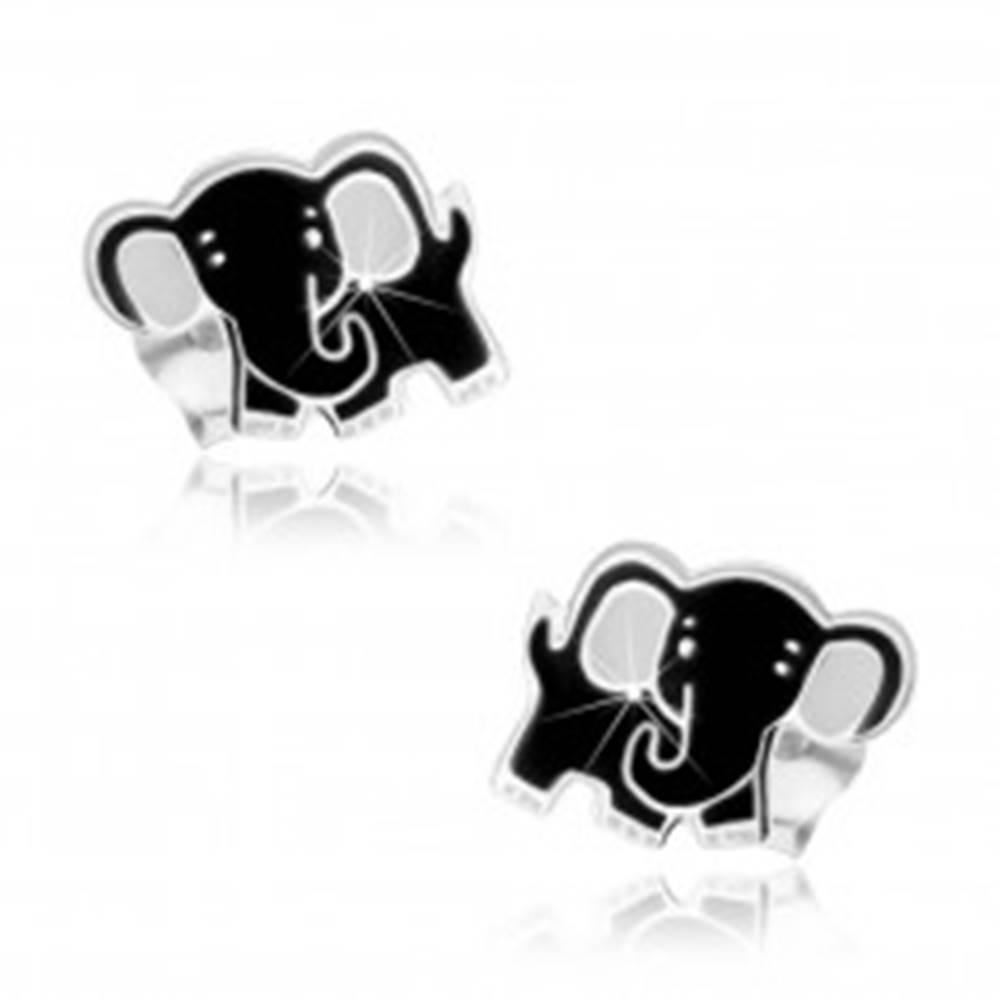 Šperky eshop Strieborné náušnice 925, roztomilý sloník, čierna a biela glazúra, puzetky