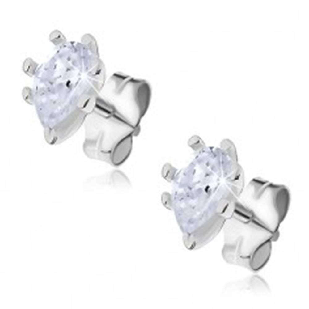 Šperky eshop Strieborné náušnice 925 - zirkónové kvapky uchytené paličkami