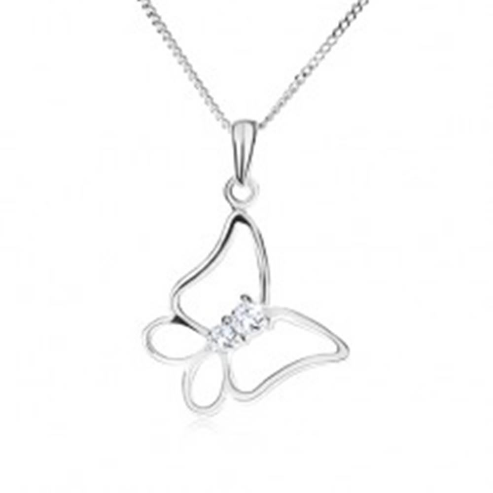 Šperky eshop Strieborný 925 náhrdelník, retiazka a kontúra motýľa, číre kamienky