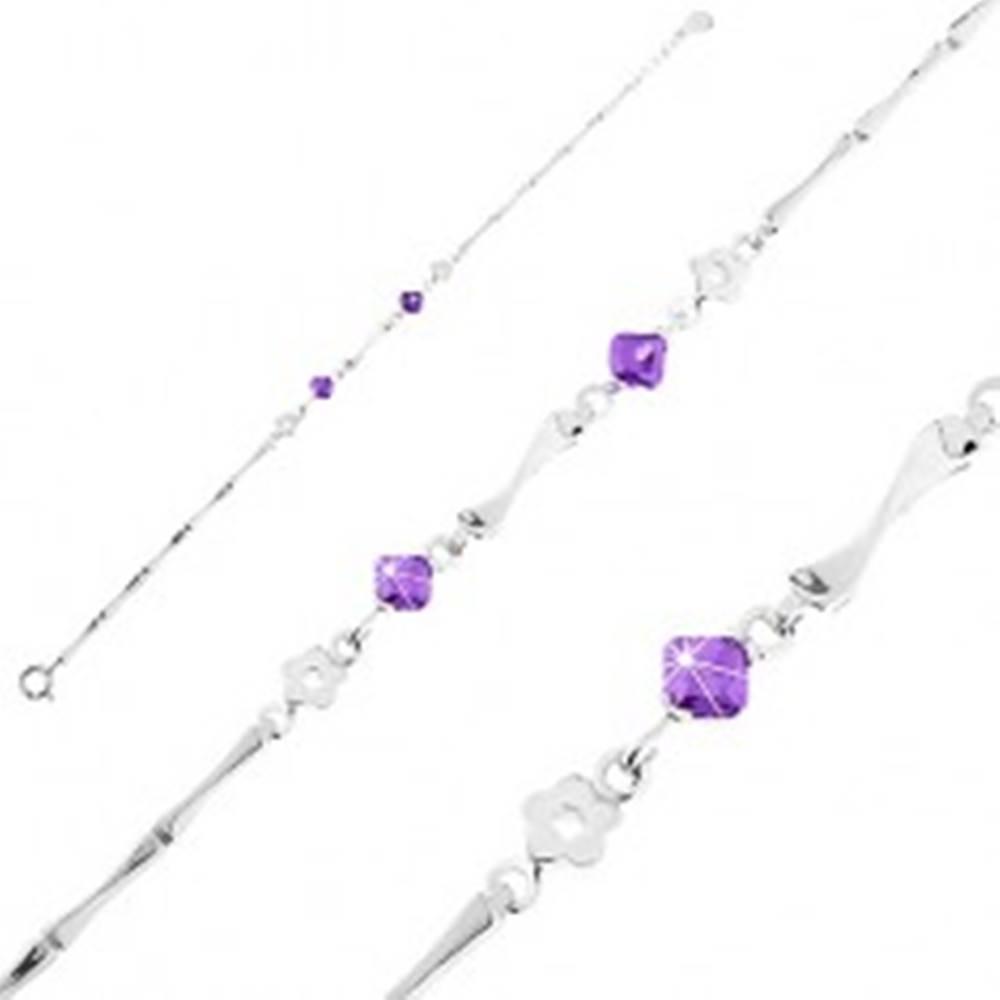 Šperky eshop Strieborný 925 náramok, kvietky, fialové zirkóny a lesklé články