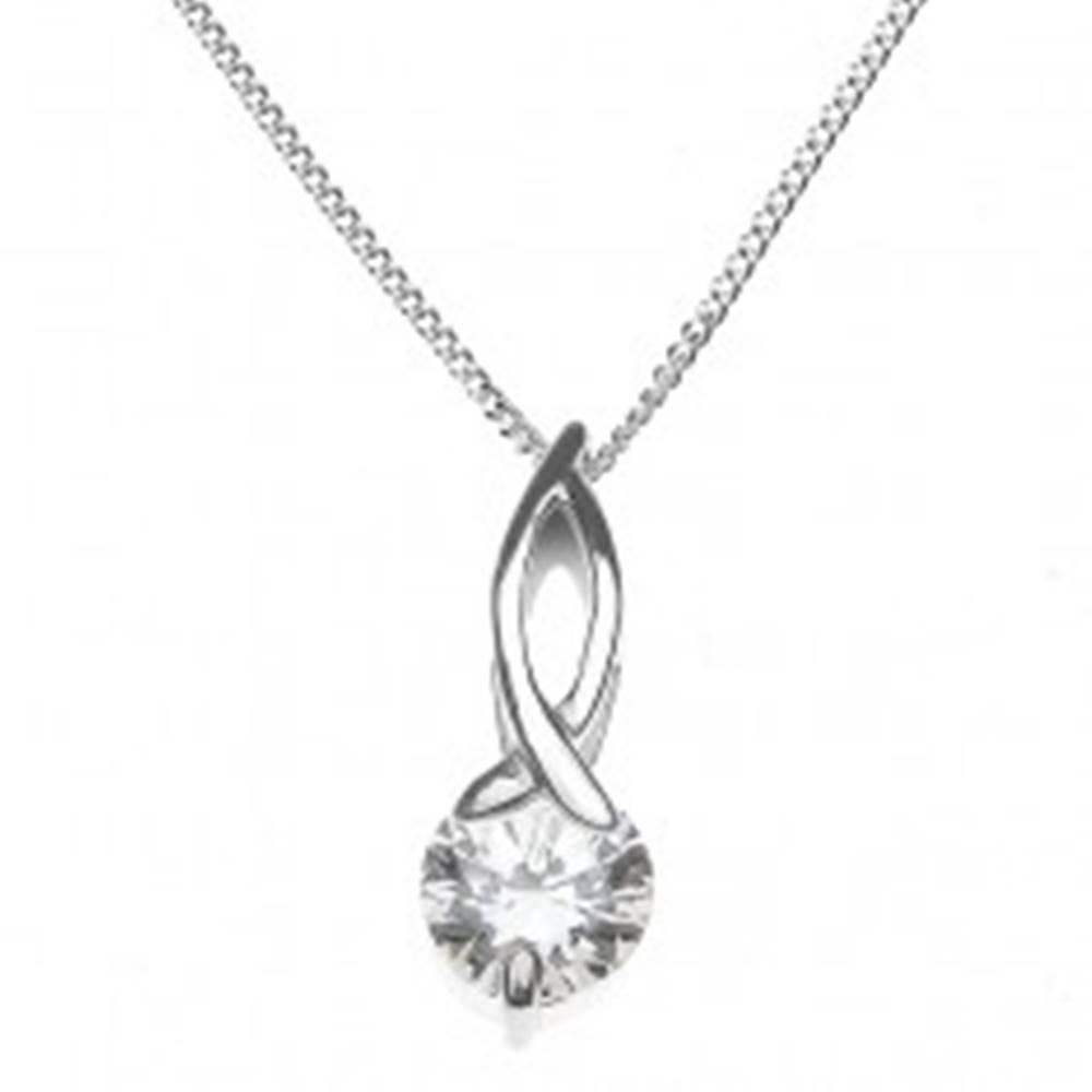 Šperky eshop Strieborný náhrdelník 925 - slučka s okrúhlym zirkónom na retiazke