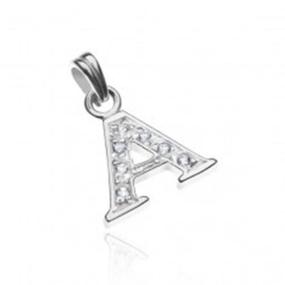 Šperky eshop Strieborný prívesok 925 - tlačené písmeno A, vsadené zirkóny s bodkami