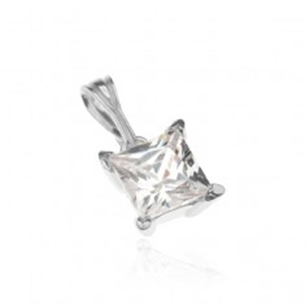 Šperky eshop Strieborný prívesok 925 - veľký štvorcový zirkón v objímke