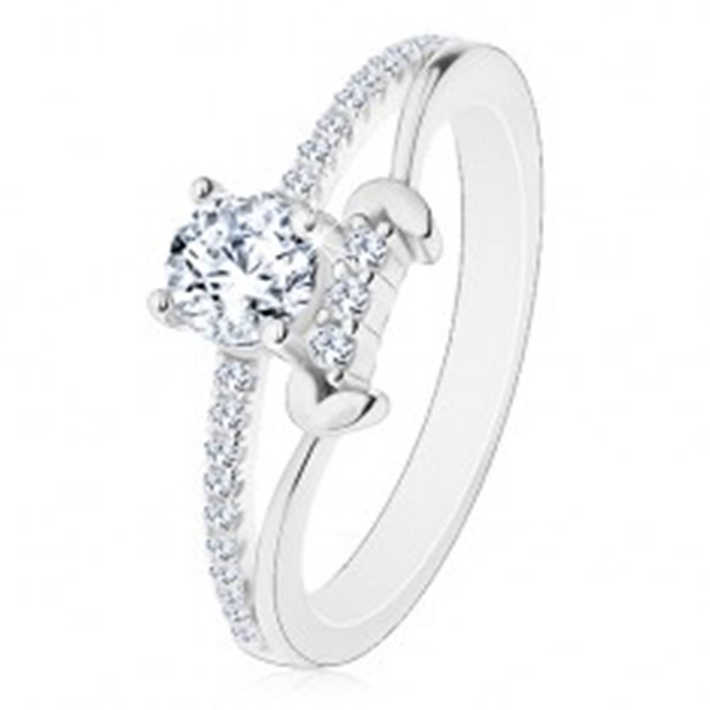 Šperky eshop Strieborný prsteň 925, rozdelené ramená, číry okrúhly zirkón, lístky - Veľkosť: 50 mm
