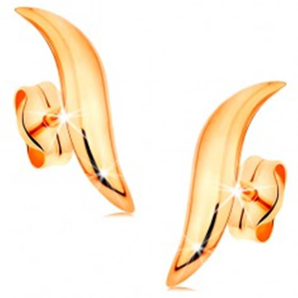 Šperky eshop Zlaté 14K náušnice - lesklá vlnka so zúženými koncami a zaobleným povrchom
