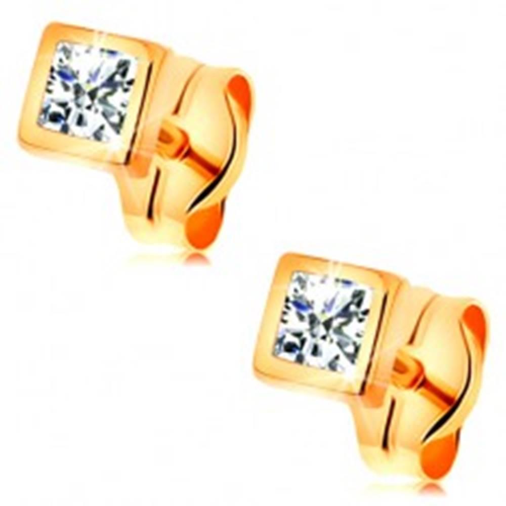 Šperky eshop Zlaté 14K náušnice - ligotavý zirkón čírej farby v lesklej štvorcovej objímke